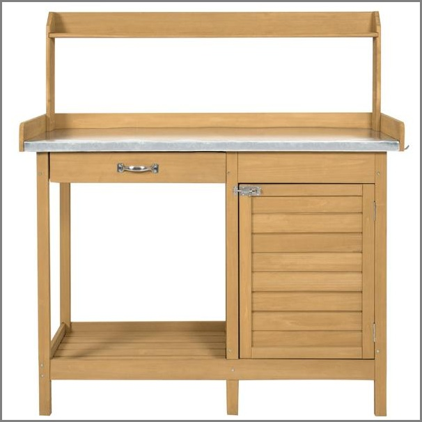 GET 70% OFF + FREE SHIPPING ~ Garden Wooden Potting Bench with Metal Tabletop in Natural ~ SAVING YOU $210!