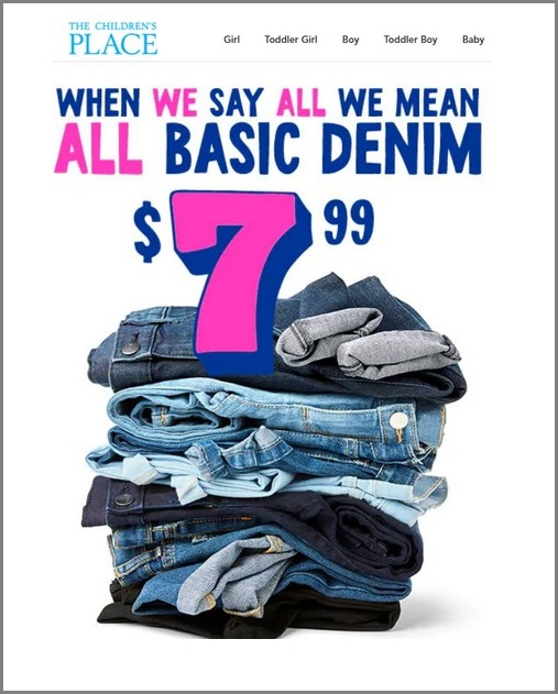 ONLY $7.99 on Basic Denim & It Gets Even Better with FREE SHIPPING!